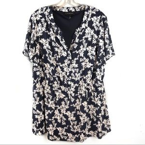 LANE BRYANT Blue Floral Blouse Size 12